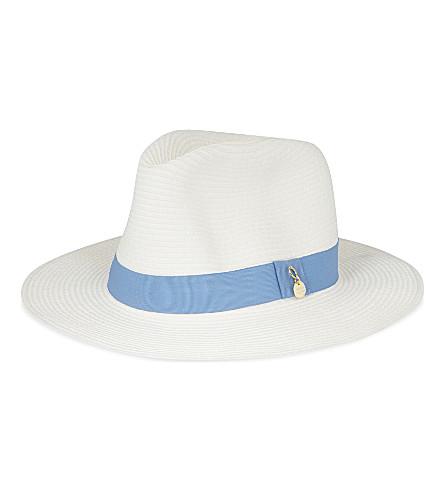 MELISSA ODABASH Fedora hat (White/cornflower