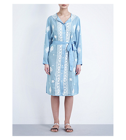 MELISSA ODABASH Fleur shirt dress (Cornflower/white