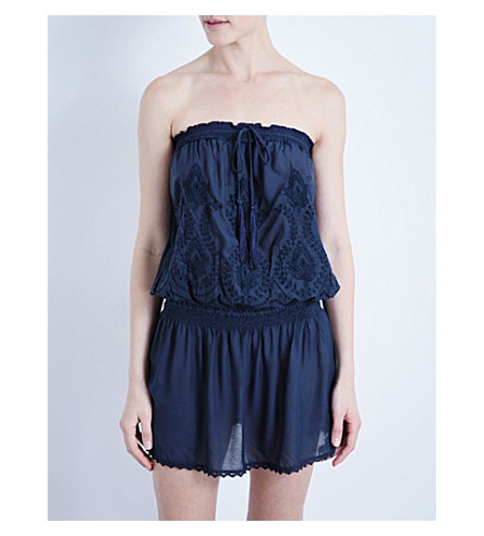 MELISSA ODABASH Fruley embroidered woven mini dress (Navy