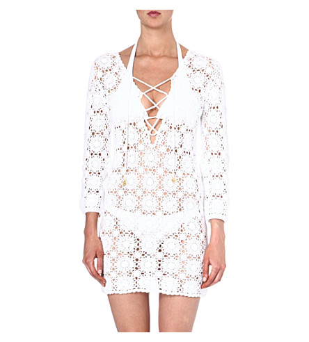 MELISSA ODABASH Giselle crochet beach dress (White
