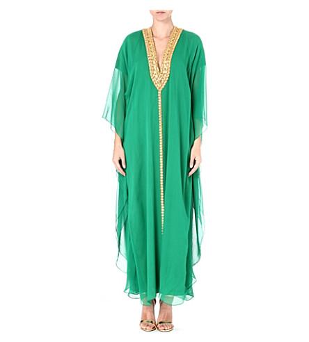 MELISSA ODABASH Hilary embellished kaftan (Green