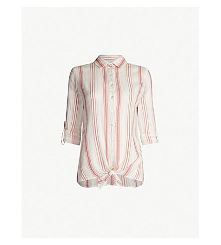 MELISSA ODABASH Inny striped cotton shirt (Red stripe