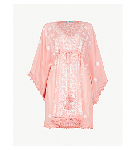 MELISSA ODABASH Irene embroidered woven kaftan (Rose+white