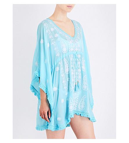MELISSA ODABASH Irene embroidered woven kaftan (Sky/white