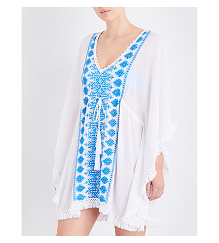 MELISSA ODABASH Isabelle embroidered woven kaftan (White/electric+blue