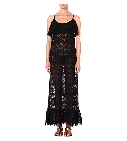 MELISSA ODABASH Jamie crochet maxi dress (Black