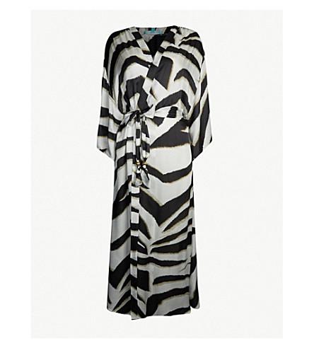 MELISSA ODABASH Jules zebra-print satin maxi kaftan (Zebra