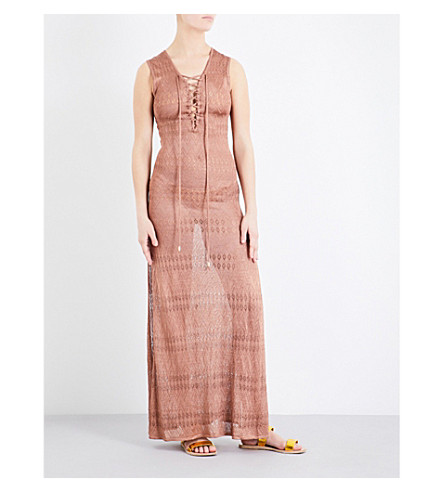 MELISSA ODABASH Kourtney knitted maxi dress (Mocha+knit