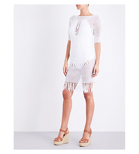 MELISSA ODABASH Melissa knitted crochet dress (White