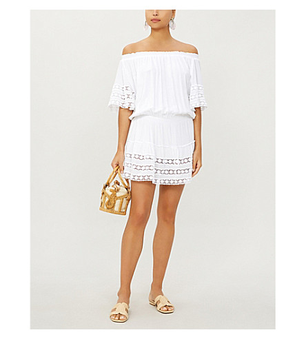 MELISSA ODABASH Michelle off-the-shoulder georgette dress (White