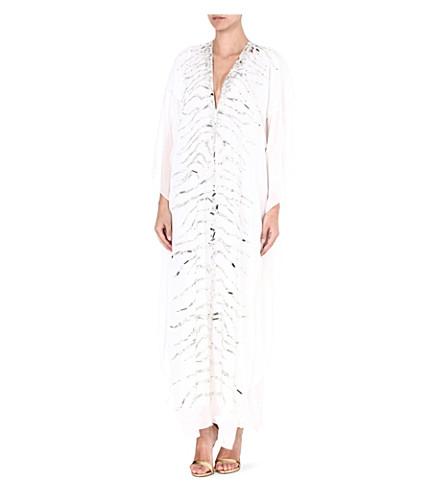 MELISSA ODABASH Embellished silk kaftan (White/silver