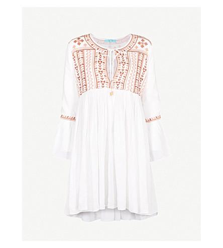 MELISSA ODABASH Natalia embroidered-detail woven dress (Cream/beige