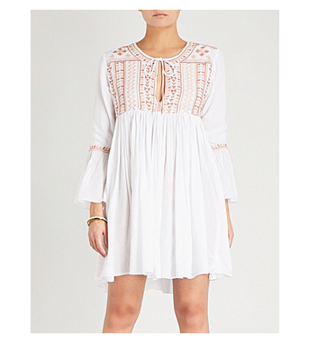 MELISSA ODABASH Natalia embroidered-detail woven dress (Cream/beige