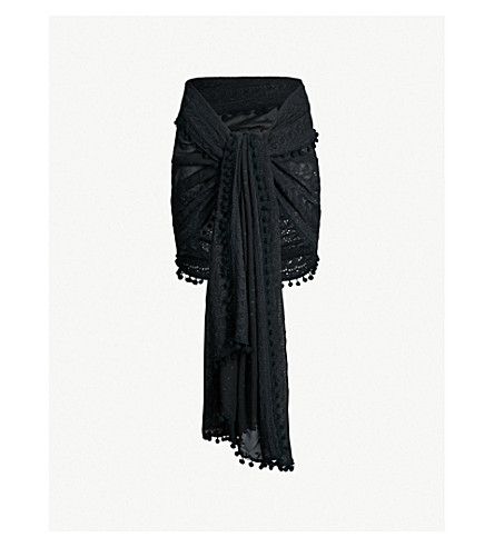 MELISSA ODABASH Pareo embroidered georgette sarong (Black