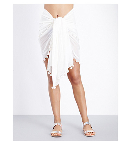 MELISSA ODABASH Pareo cotton and silk-blend sarong (Cream