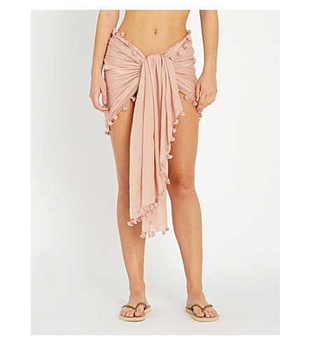 MELISSA ODABASH Pareo cotton and silk-blend sarong (Dusty+rose
