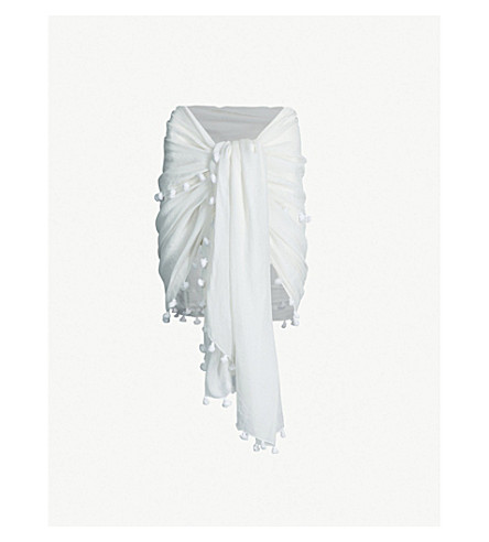 MELISSA ODABASH Pareo cotton and silk-blend sarong (White