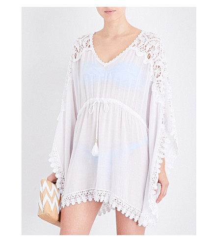 MELISSA ODABASH Roby floral-crochet woven kaftan (White