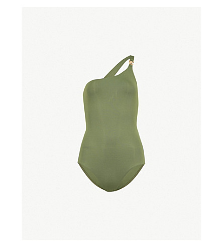 MELISSA ODABASH Seychelles one-shoulder swimsuit (Khaki