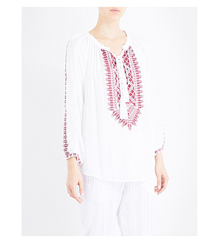 MELISSA ODABASH Simona embroidered-detail woven blouse (White/red