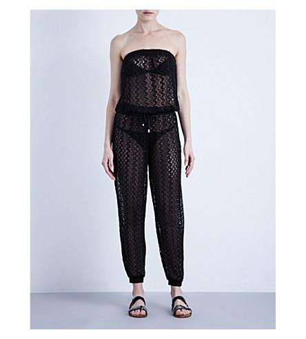 MELISSA ODABASH Stella crochet-knit jumpsuit (Black+lace