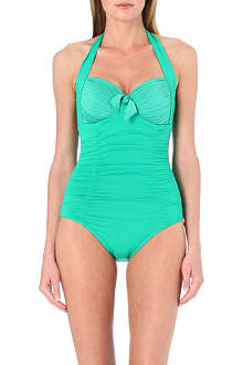 SEAFOLLY Goddess halterneck bow-detail swimsuit