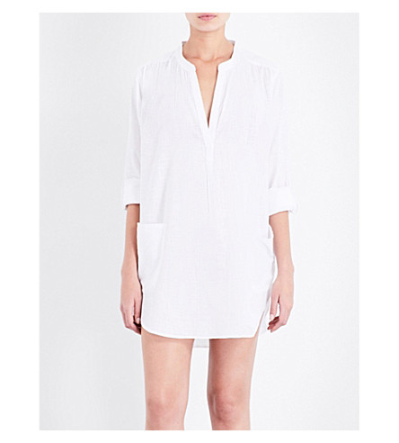 SEAFOLLY Boyfriend cotton beach shirt (White