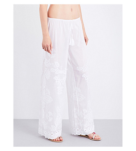SEAFOLLY Embroidered cotton and silk-blend trousers (White