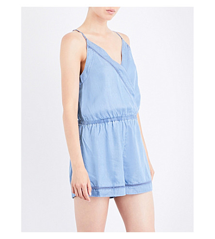 SEAFOLLY Ladder-detail chambray playsuit (Chambray