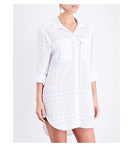 SEAFOLLY Textured dobby stripe cotton-voile shirt (White