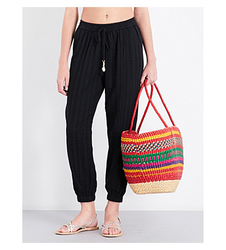 SEAFOLLY Tapered washed dobby stripe cotton trousers (Black