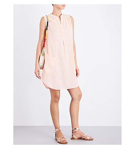SEAFOLLY Sleeveless Boyfriend cotton beach shirt (Peach+melba