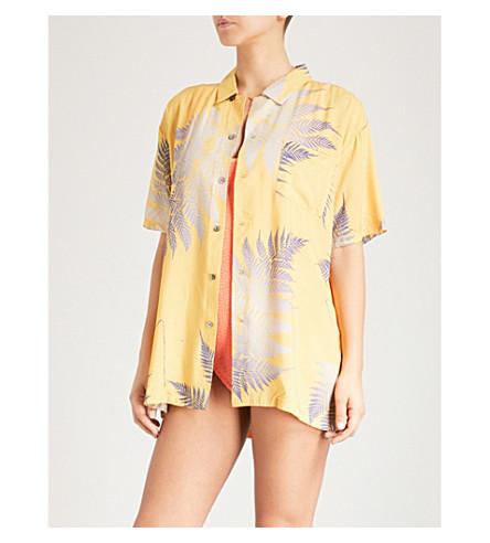 DOUBLE RAINBOUU Gold Class woven Hawaiian shirt (Saffron++amethyst