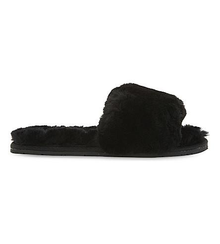 DOUBLE RAINBOUU Sheepskin sliders (Black