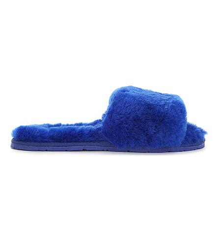 DOUBLE RAINBOUU Sheepskin sliders (Blue