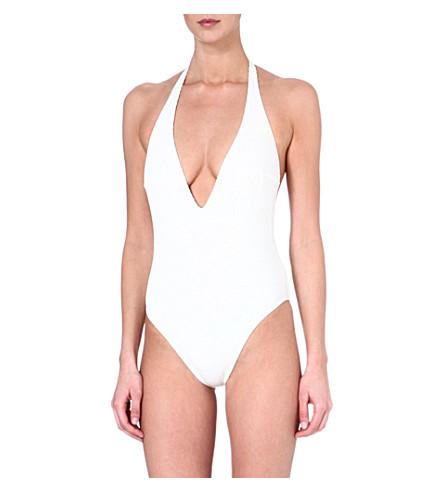 GOTTEX Nouvelle plunge halter swimsuit (White