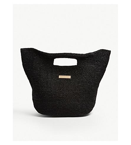 HEIDI KLEIN Grace Bay mini raffia bucket bag (Black