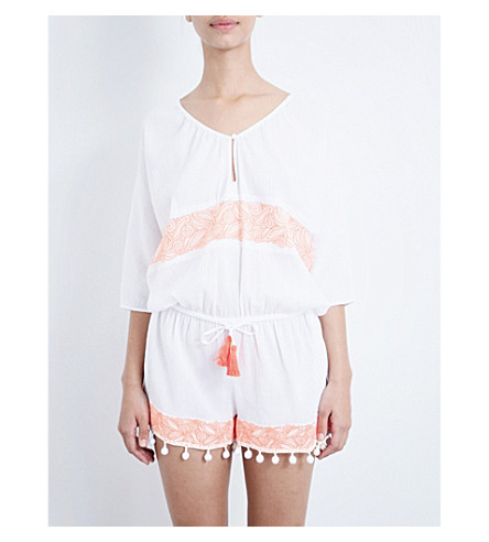 HEIDI KLEIN Chile cotton playsuit (White and neon coral