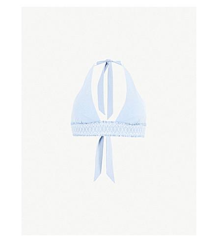 HEIDI KLEIN Cassis smocked bikini top (Blue
