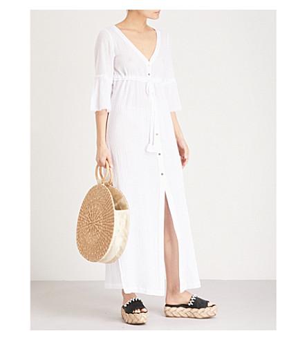 HEIDI KLEIN Tie-front cotton maxi kaftan (White