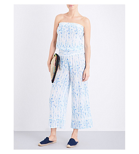 HEIDI KLEIN Milos smocked cotton jumpsuit (Print
