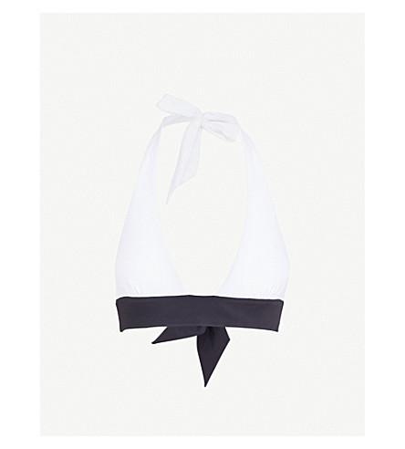 HEIDI KLEIN Anacapri halterneck bikini top (White/navy