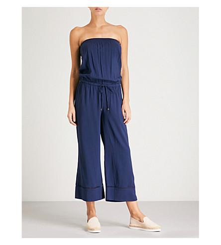 HEIDI KLEIN Anacapri off-the-shoulder smocked woven jumpsuit (Navy