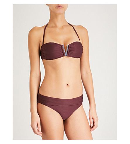 HEIDI KLEIN Monaco V-bar bandeau bikini top (Burgundy