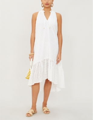 Malta sleeveless cotton-broderie midi dress