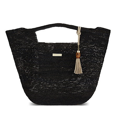 HEIDI KLEIN Grace Bay raffia bucket bag (Black