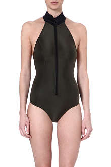 LISA MARIE FERNANDEZ Satin-neoprene zip-up swimsuit