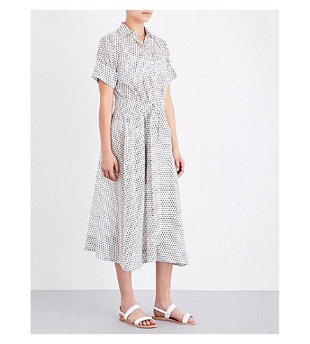 LISA MARIE FERNANDEZ Polka dot cotton shirt dress (White+cot+w+black+polka
