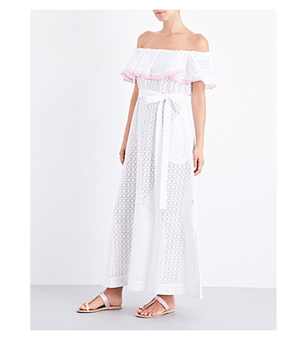 LISA MARIE FERNANDEZ Mira off-the-shoulder broderie anglaise cotton maxi dress (White+eylet+w+pink+ric