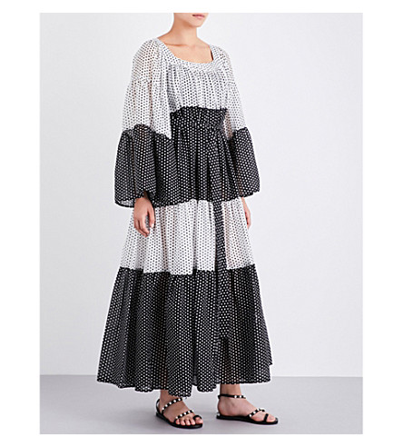 LISA MARIE FERNANDEZ Peasant polka dot maxi dress (White+cot+w+black+polka